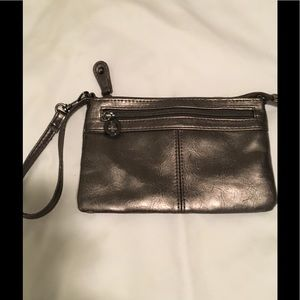 Gunmetal color clutch/wristlet